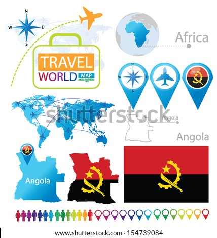 Angola. flag. World Map. Travel vector Illustration. - stock vector