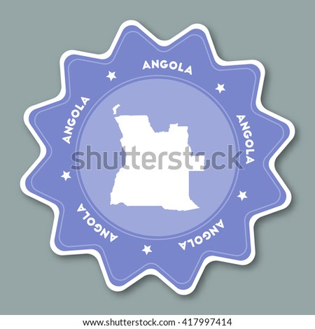 Angola map sticker in trendy colors. Star shaped travel sticker with country name and map. Can be used as logo, badge, label, tag, sign, stamp or emblem. Travel badge vector illustration.