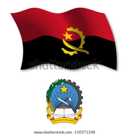 angola shadowed textured wavy flag and coat of arms against white background, vector art illustration, image contains transparency - stock vector