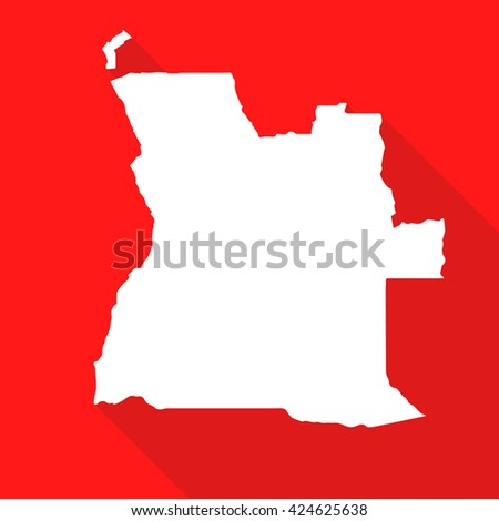 Angola white map,border flat simple style with long shadow on red background
