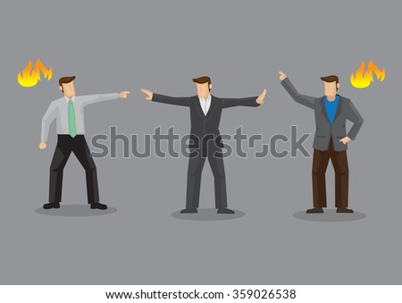 Angry adult men in a fiery conflict and a pacemaker between them trying mediate and stop the argument. Cartoon vector illustration on ugly confrontation concept isolated on grey background. - stock vector