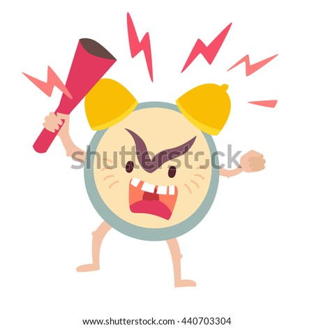 Angry alarm clock. Wake up, deadline concept. Alarm clock vector illustration. Alarm clock icon. Alarm clock with bat. Ringing alarm clock isolated on white background. Flat sticker - stock vector