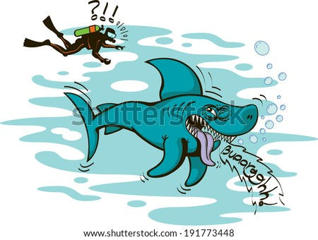 Angry and annoyed brave shark showing how disgusted it is about noticing a diver above it. Instead of attacking or being a threat for him, the shark sticks its tongue out and make a vomiting sound - stock vector