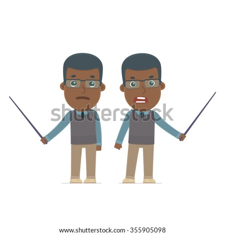 Angry and Sad Character African American Teacher making presentation using pointer. for use in presentations, etc. - stock vector