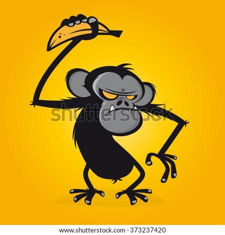 angry ape with banana - stock vector