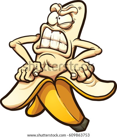 Angry banana taking peel of. Vector clip art illustration with simple gradients. All in a single layer.