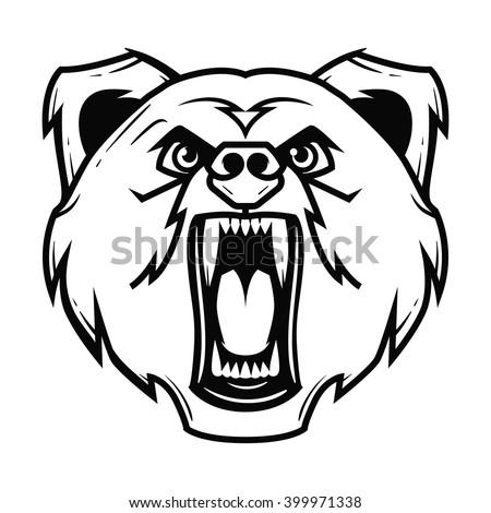 Angry bear head mascot, character illustration - stock vector