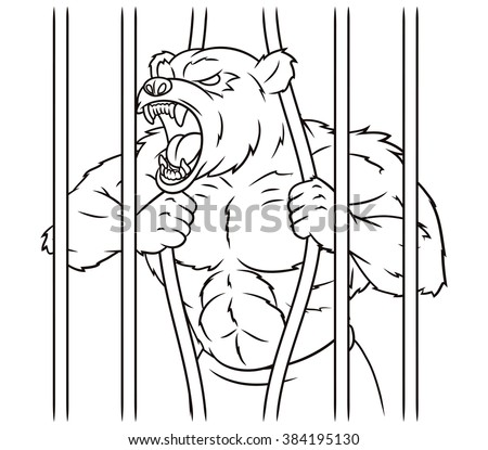 Angry bear in cage - stock vector