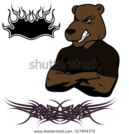 angry bear muscle cartoon set in vector fromat very easy to edit - stock vector