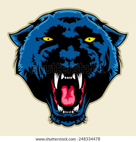 angry black panther head - stock vector