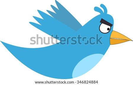 Angry blue bird - stock vector