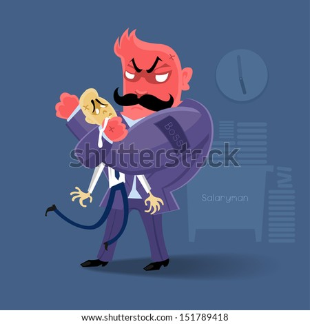 angry Boss  action to salaryman in working business time | manage work hard by danger - stock vector