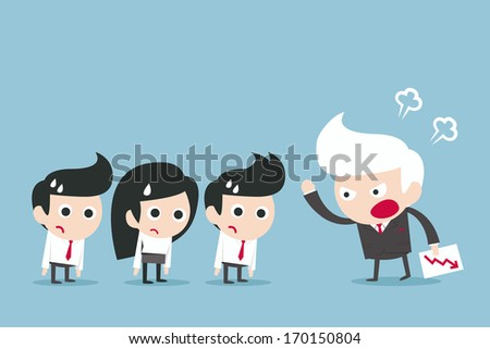 angry boss concept, vector - stock vector