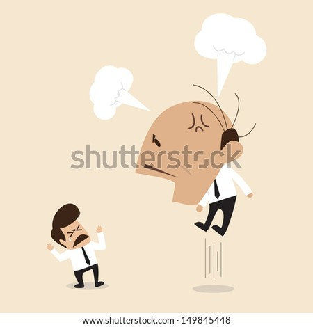 Angry Boss is shouting to his employee - stock vector