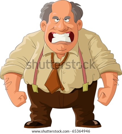 Angry boss on a white background, vector illustration - stock vector