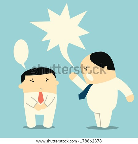 Angry boss or manager yelling at his worker or employee. You can change or write your own design or text in speech bubbles.  - stock vector