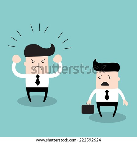 Angry boss screaming at his employee. Business concept, businessman work and relationships. Vector illustration - stock vector