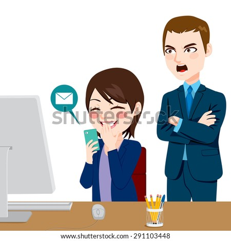 Angry boss shouting employee woman distracted chatting with smartphone - stock vector