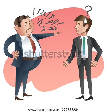 Angry boss with employee. Vector illustration - stock vector