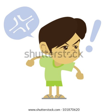 angry boy illustration vector - stock vector