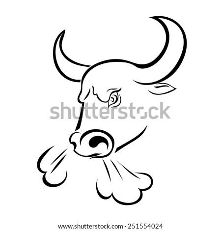 Angry bull's head with the steam from his nostrils isolated on white background. Vector illustration. - stock vector