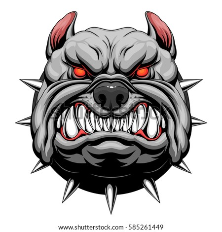 Angry Bulldog Head Stock Vector 585261449 - Shutterstock