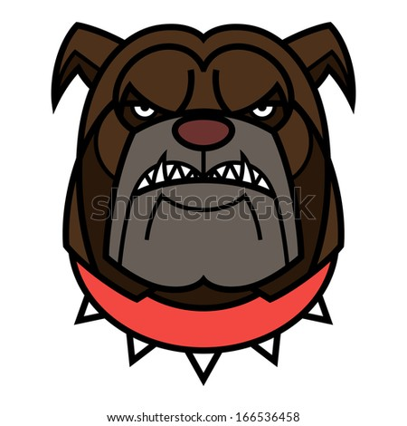 Angry Bulldog is in red spiked collar - stock vector