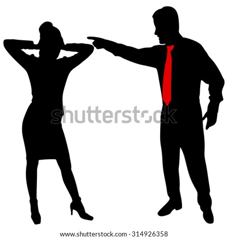 angry business man screaming at the woman - stock vector