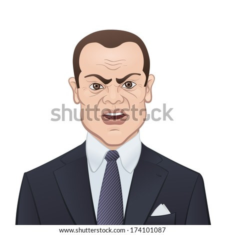 Angry Businessman in a Suit and Tie Isolated on White Background - Cartoon Character