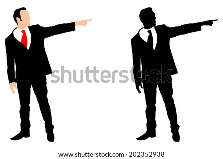 Angry businessman showing to exit , vector  - stock vector