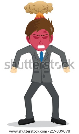 Angry Businessman With Red Face And Explosion On The Head - stock vector