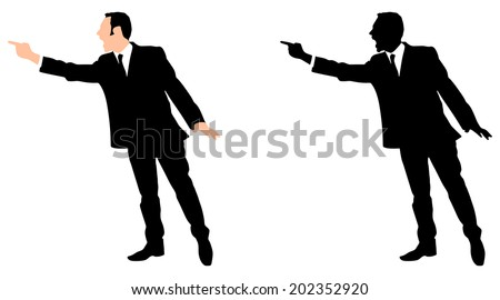 Angry businessman yelling, vector  - stock vector