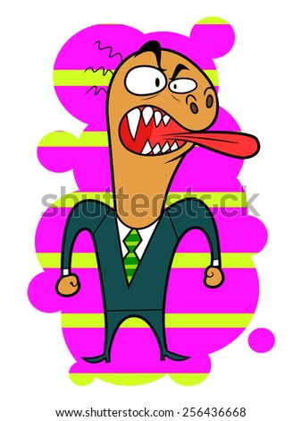 Angry cartoon bizarre creature on bright background.  - stock vector