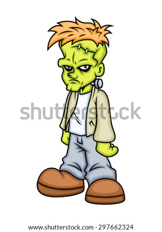 Angry Cartoon Character with Stitches on Forehead Vector Illustration - stock vector