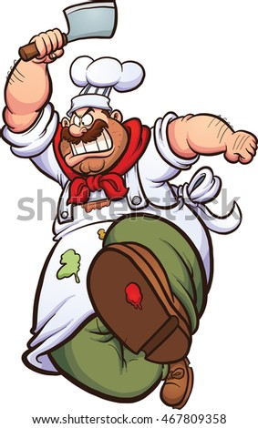 Angry cartoon chef running with a knife. Vector clip art illustration with simple gradients. All in a single layer.