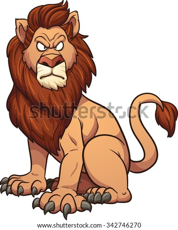 Angry cartoon lion. Vector clip art illustration with simple gradients. All in a single layer. - stock vector