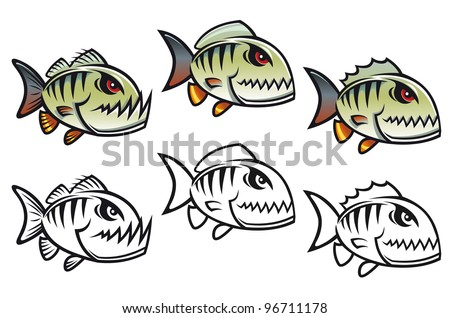 Angry cartoon piranha fish in three variations isolated on white backgrounds, such  a logo. Jpeg version also available in gallery - stock vector