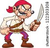 Angry cartoon pirate. Vector clip art illustration with simple gradients. All in a single layer. - stock vector