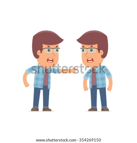 Angry Character Freelancer abuses and accuses his companion. Poses for interaction with other characters from this series - stock vector