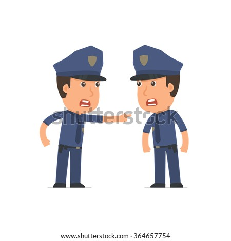 Angry Character Officer abuses and accuses his companion. Poses for interaction with other characters from this series
