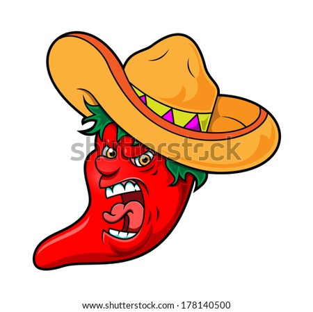 Angry Chili Pepper - stock vector