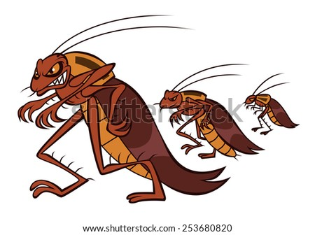 Angry cockroaches go to seize apartments of innocent people. - stock vector