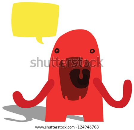 Angry Complaining Monster with Yellow Speech Bubble - stock vector