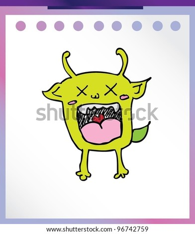 angry cute alien monster - vector illustration - stock vector