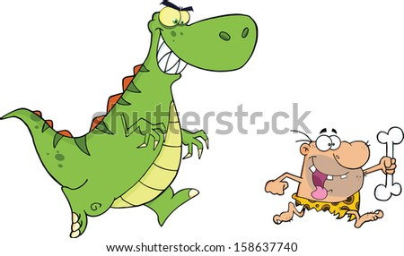 Angry Dinosaur Chasing A Caveman. Vector Illustration Isolated on white - stock vector