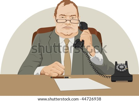 angry director talk by phone - stock vector
