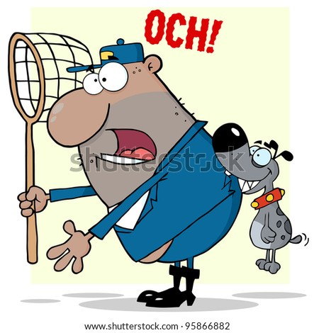 Angry Dog Biting A African American Dog Catcher.Vector Illustration - stock vector