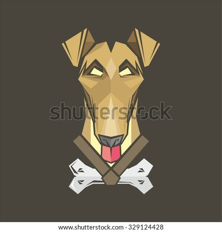 Angry Dog fox terrier - stock vector