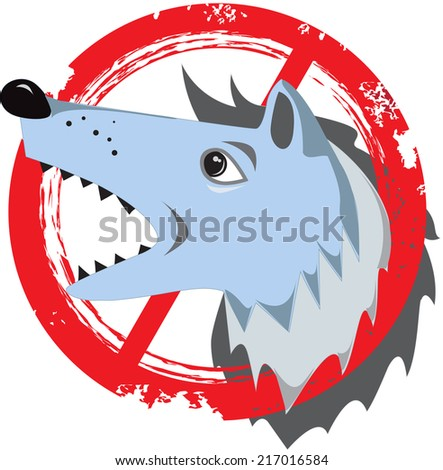 Angry dog.Prohibition sign.Danger icon.Stamp.Cracks.Scratches.Vintage. Dog in house. Logo. Vector icon. Gray  head wolf. Prohibition, negative - stock vector