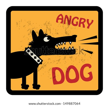 Angry Dog sign, vector illustration - stock vector